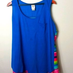 Self Esteem Blue Serape Back Tank Top 1X Plus